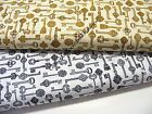 KEYS TO SUCCESS FABRIC~BY THE 1/2 YD~2 COLORS~KANVAS~ORNATE VINTAGE KEYS~COTTON