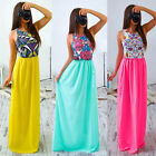 Sexy Women Sleeveless Chiffon Cocktail Maxi Beach Evening Party Dress Printed E1