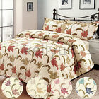 Large Floral Quilted Quality New Bedspread With Woven Effect All Over Design