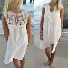 Women's Summer Lace Beach Boho Sleeveless Evening Party Cocktail Mini Dress LAU