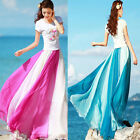 New Hot Womens Full Boho Elastic Waist Band Dress Summer Chiffon Long Maxi Skirt