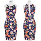 Women's Vintage Retro 50s Floral Housewife Pin Up Party Evening Bodycon Dress