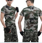 Unisex Men Women Camo Tactical Military Combat Army Short Sleeve T-Shirt Tee