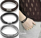 Unisex Women Men Braided Leather Steel Magnetic Clasp Bracelet Bangle Wristband