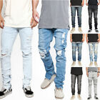 TheMogan Men's Distressed Ripped Destroyed Wash Denim Zipper Ankle Skinny Jeans