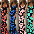 Summer Boho Sexy Floral Printed Women Party V Neck Spaghetti Strap Maxi Dress S