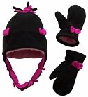 Little Girls Sherpa Lined Hat And Mitten Set With Bows