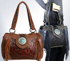 Trinity Ranch® Concealed Carry, Tooled Leather & Fringe Satchel -5 Color Choices