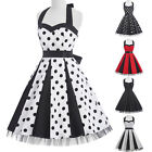 NEW Vintage Womens 50s 60s Style Casual Halter Prom Pinup Swing Dress