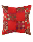 "RED INDIAN CUSHION COVER PATCH WORK WHITE POLKA DOT THROW DECOR ART 16"" SQUARE"