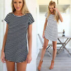 Sexy Women Casual Short Sleeve Dresses Round Neck Striped Mini Dress Black/White