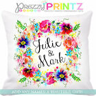 ❤PERSONALISED FLORAL WREATH CUSHION COUPLE MR & MRS WEDDING VALENTINES LOVE GIFT
