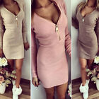 Charm Women Long Sleeve V-neck Dress Sexy Stretch Bodycon Dress Zipper Dress LAU
