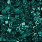 Miyuki 4mm Cube Beads Transparent Teal Green #2405 10G