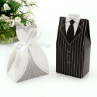 50-100 Bride and Groom Black and White Favor Boxes Hollow Candy Box Wedding
