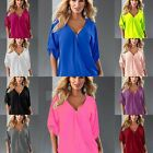 Fashion Women Lady Sexy V-Neck Summer Wild Solid Long-Sleeve T-Shirt Top Blouse