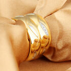 AAA Crystals Stainless Steel Couple Gold Bands Ring Bling Wife Husband Gifts