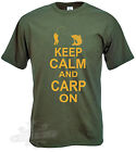 CARP FISHING  ANGLING T SHIRT KEEP CALM AND CARP ON SIZES