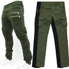Korean Men's Fashion Slim Fit Cotton Pencil Pants Trousers Casual Cargo Army New