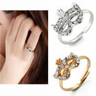 Women Bohemian Boho Mask Shiny Crystal Studded Band Finger Ring us6.5 Adjustable