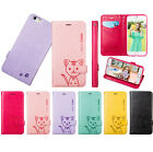 For iPhone 6 /6s Cute Cat Leather Magnet Card Stand Flip Case Cover With Strap