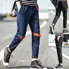 Mens Designer Jeans Skinny Denim Straight Slim Fit Ripped Pants Casual Trousers