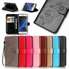 Leather Card Holder Flip Wallet Case Cover Stand Floral For Samsung Galaxy Phone