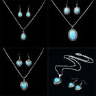 Women's Vintage Style Silver Turquoise Pendant Necklace Earrings Jewelry Sets