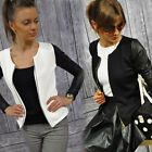 New Women's Fashion Casual Splicing Leather Blazer Tail Coat Slim Jacket Outwear