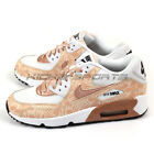 Nike Air Max 90 Print Mesh GS White/Metallic Gold Bronze Running 833497-100