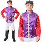 PURPLE JOCKEY COSTUME MENS HORSE RACING FANCY DRESS TOP TROUSERS GOGGLES BOOTS