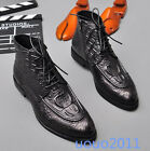 Vogue Mens Black Leather Ankle Boots Dress British Formal Lace Up Shoes New Size
