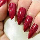 Stiletto Nails, Hand Painted Press On Fake False Acrylic Glue On Red Holographic