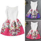 Kids Girl Vintage Floral Skater Dress Sleeveless Wedding Party Evening Sundress