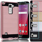 For LG G Stylo 2 Plus/Stylus 2 Plus MS550 Hybrid Case Cover+ Tempered Glass Film
