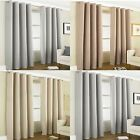 Linen Hessian Woven Effect Plain Heavy Thermal Blackout Eyelet Ring Top Curtains
