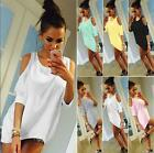 Women Cold Shoulder Loose  Shirt Tops 3/4 Sleeve Casual Mini Dress plus size hot