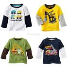 Kids Boys Long Sleeve Cotton T-shirt Round Neck Pullover Blouse Tops Tee Shirts