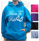 HORSE RIDING HOODIE Equestrian KIDS & ADULT SIZE BORN TO RIDE & SHOE FRONT PRINT