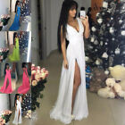 Long Women's V Neck Side Slit  Evening Party Formal Bridesmaid Prom Gown Dress