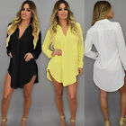 Plus Size Summer Womens Casual Loose Long Sleeve Shirt Blouse Tops Dress