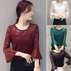 Fashion Ladies Women's Casual Slim Fit Lace Floral Long Sleeve Shirt Tops Blouse