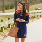 Mud Pie Coralie Long Sleeve Terry Dress - Navy