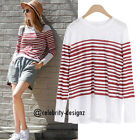 tp200 CFLB 100% Cotton Long Sleeve Nautical Sailor Retro Striped T Shirt Top