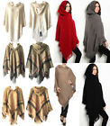 Women Knit Batwing Top Poncho With Hood Cape Cardigan Coat Sweater Outwear 4945