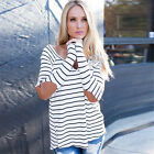 Vintage Women Black White Striped Long Sleeve Casual Tops Sexy Elbow Patch Shirt