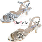 SheSole Womens Wedding Shoes Strappy Mid Kitten Heels Evening Dress Sandals Size