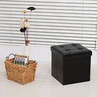 Folding Cube Ottoman Pouffe Storage Box Square PU Leather Footstool Lounge Seat