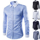 Stylish Mens Casual Shirts Slim Fit Long Sleeve Formal Dress Shirts Tee Tops Hot