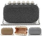 NEW LADIES PEARL FASHION HARD CASE EVENING DIAMANTE OCCASION CLUTCH BAG